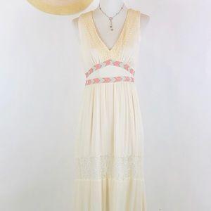 Flying Tomato ivory lace boho aztec maxi dress